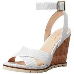 Nine West Gilly Patent Wedge Sandal - White - 9